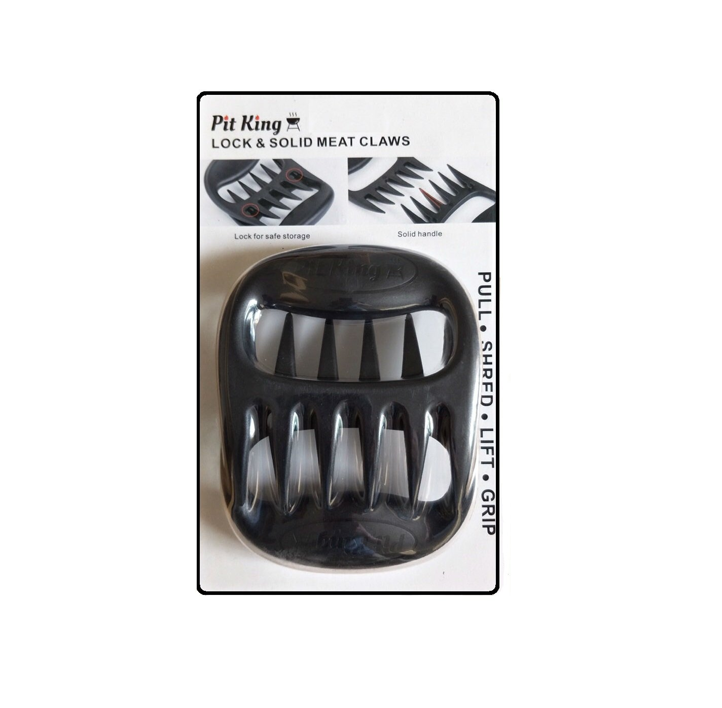 Pit King Pulled Pork Shredder Claws | BPA Free | Solid Construction | Easily Pull Pork | Lift Brisket | Dish Washer Safe | No Crevices for Meat to Get Stuck in | Easy Storage | Heat Resistant Nylon by Pit King (Image #1)