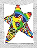 XHFITCLtd Popstar Party Tapestry, Abstract Design in Rainbow Colors Art in Shape of Starfish Performer Woman, Wall Hanging for Bedroom Living Room Dorm, 60 W X 80 L Inches, Multicolor