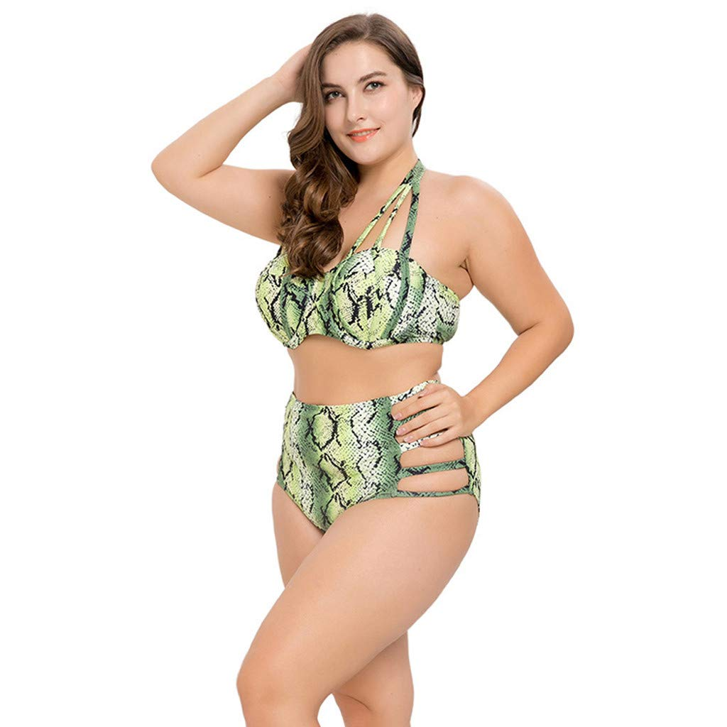 17d0f36698 Amazon.com  Women Plus Size Two Piece Swimsuits Printed Side Halter Lacing  Strap Monokini Swimwear Bikini Bathing Suits Set  Clothing