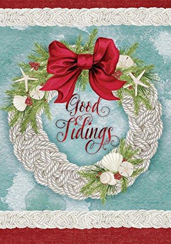 COCOBE Good Tidings Christmas Wreath - GARDEN Size, 12 Inch X 18 Inch