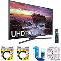 Samsung Flat 54.6 LED 4K UHD 6 Series Smart TV 2017 Model (UN55MU6290FXZA) with 2x 6ft High Speed HDMI Cable Black, Universal Screen Cleaner for LED TVs & SurgePro 6-Outlet Surge Adapter