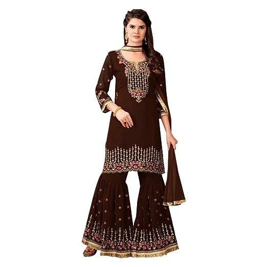 Traje pakistaní marrón de la colección de Bodas Festivas ...