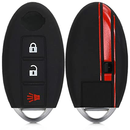 kwmobile Car Key Cover for Nissan - Silicone Protective Key Fob Cover for Nissan 3 Button Car Key - Red/Black