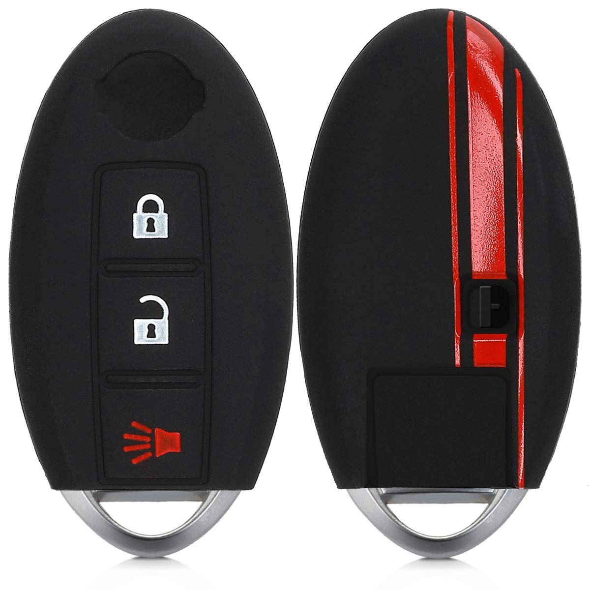 Carbon Black//Red kwmobile Car Key Cover Compatible with Nissan 3 Button Car Key PU Leather Car Key Fob Cover