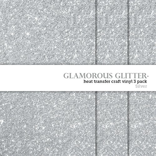 Glamorous Glitter Heat-Transfer Vinyl Multi-Pack 3 Sheets Silver 10