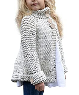 f47f40a85d62d Toddler Baby Girls Autumn Winter Clothes Button Knitted Sweater Cardigan  Cloak Warm Thick Coat