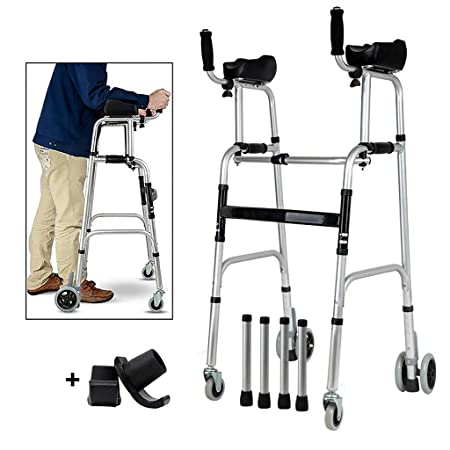 Andador plegable de aluminio, andador con ruedas con reposabrazos ...