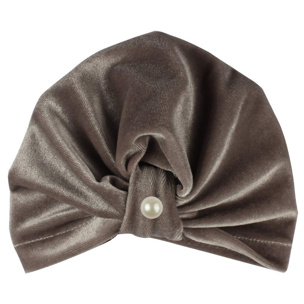 MALLOOM Newborn Baby Boy Girl Pearls Pleuche Knotted Hat Beanie Cap Headwear Gray