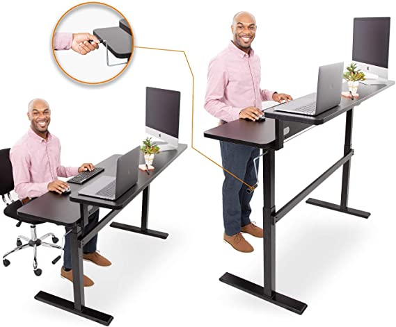 Amazon Com Stand Steady Tranzendesk 55 Inch Dual Level Standing Desk Easy Crank Height Adjustable Sit To Stand Desk Stand Up Workstation With Monitor Riser Great For Home