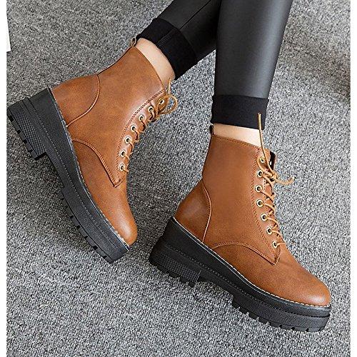 el botas marrón invierno negro de de talón combate Zapatos exterior Chunky Brown mujer redonda goma HSXZ para puntera de botas xSpZR