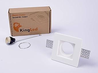 KingLed - Portafaretto da Incasso In Gesso Quadrato Slim per Faretto Gu10 e Mr16 Cod. 1495