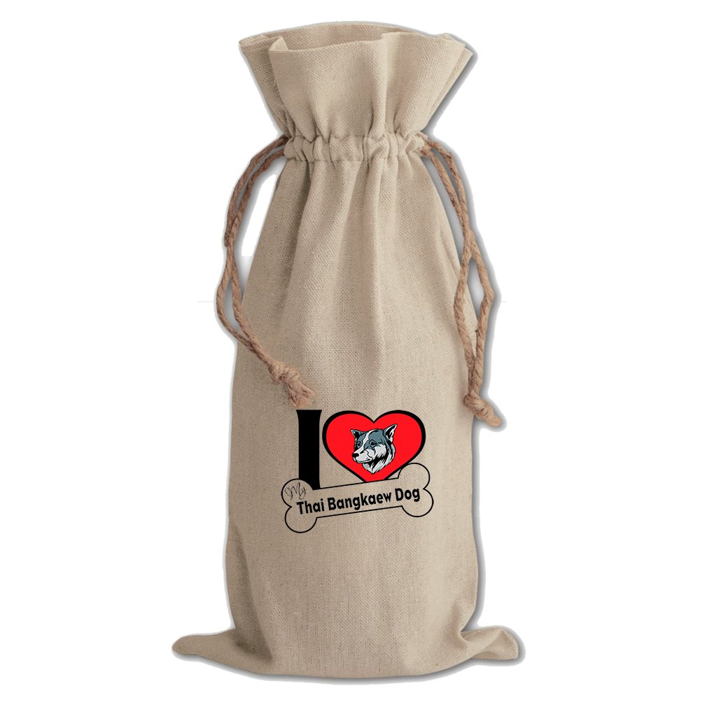Canvas Wine Drawstring Bag I Love My Thai Bangkaew Dogdog Style 2 Style In Print