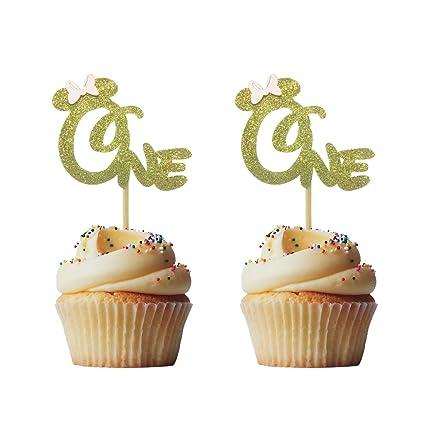 Morndew - 24 adornos para cupcakes con purpurina dorada y ...