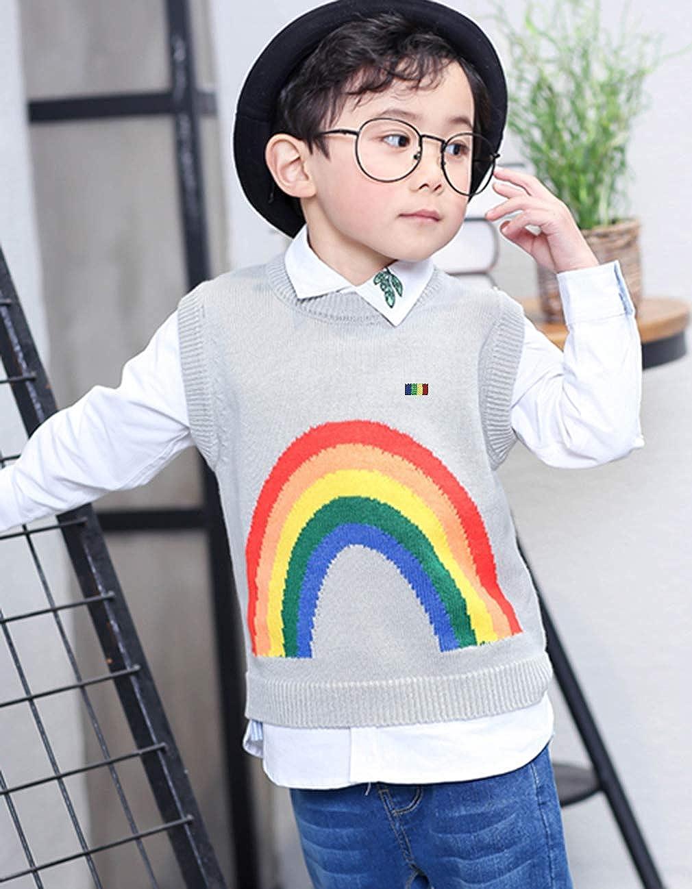 EOZY Kinder Jungen Rundhals Strickweste Pullover Regenbogen Weste Top