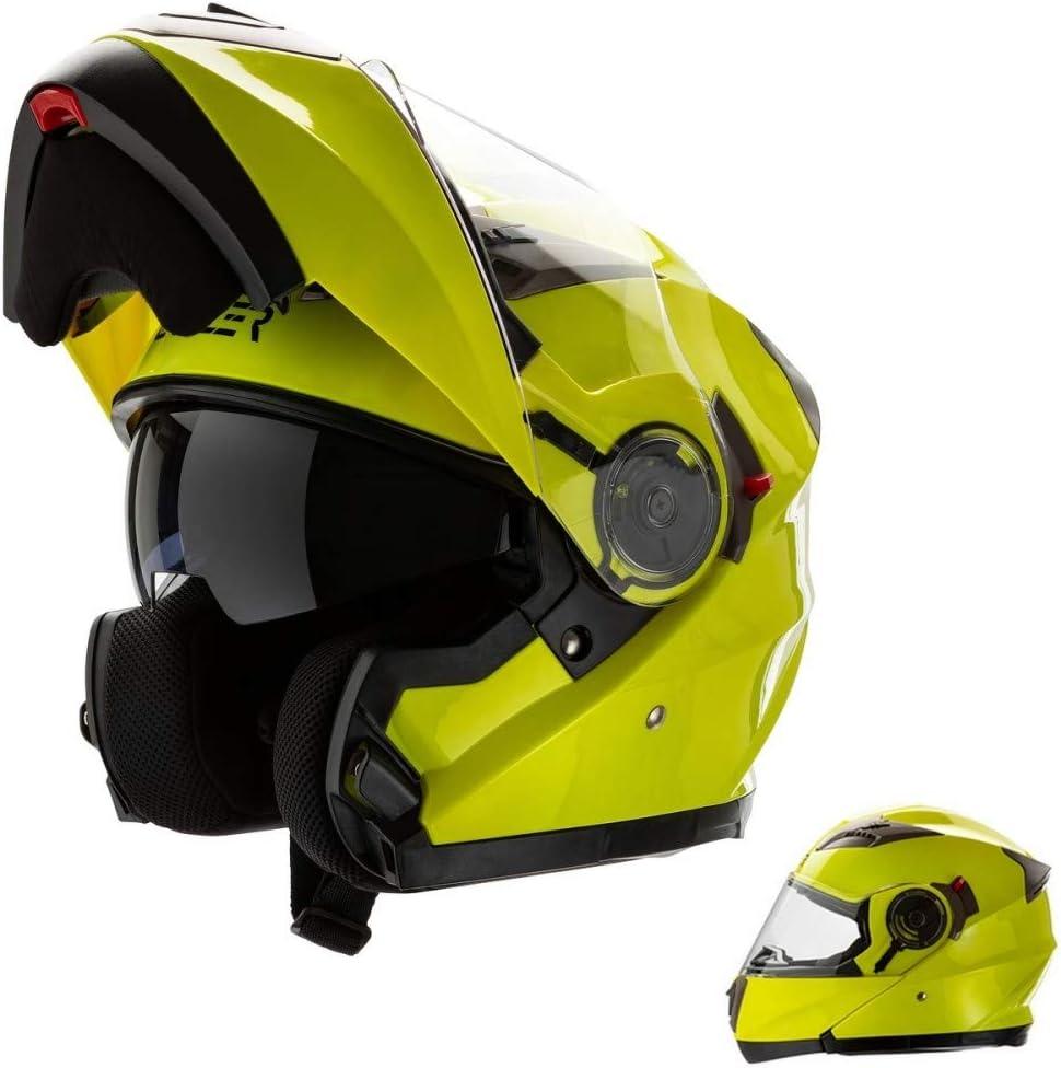 Cruizer - Casco modular homologado para moto - Color amarillo - Alta visibilidad con doble visera - Interior desmontable y lavable M Alta Visibilità