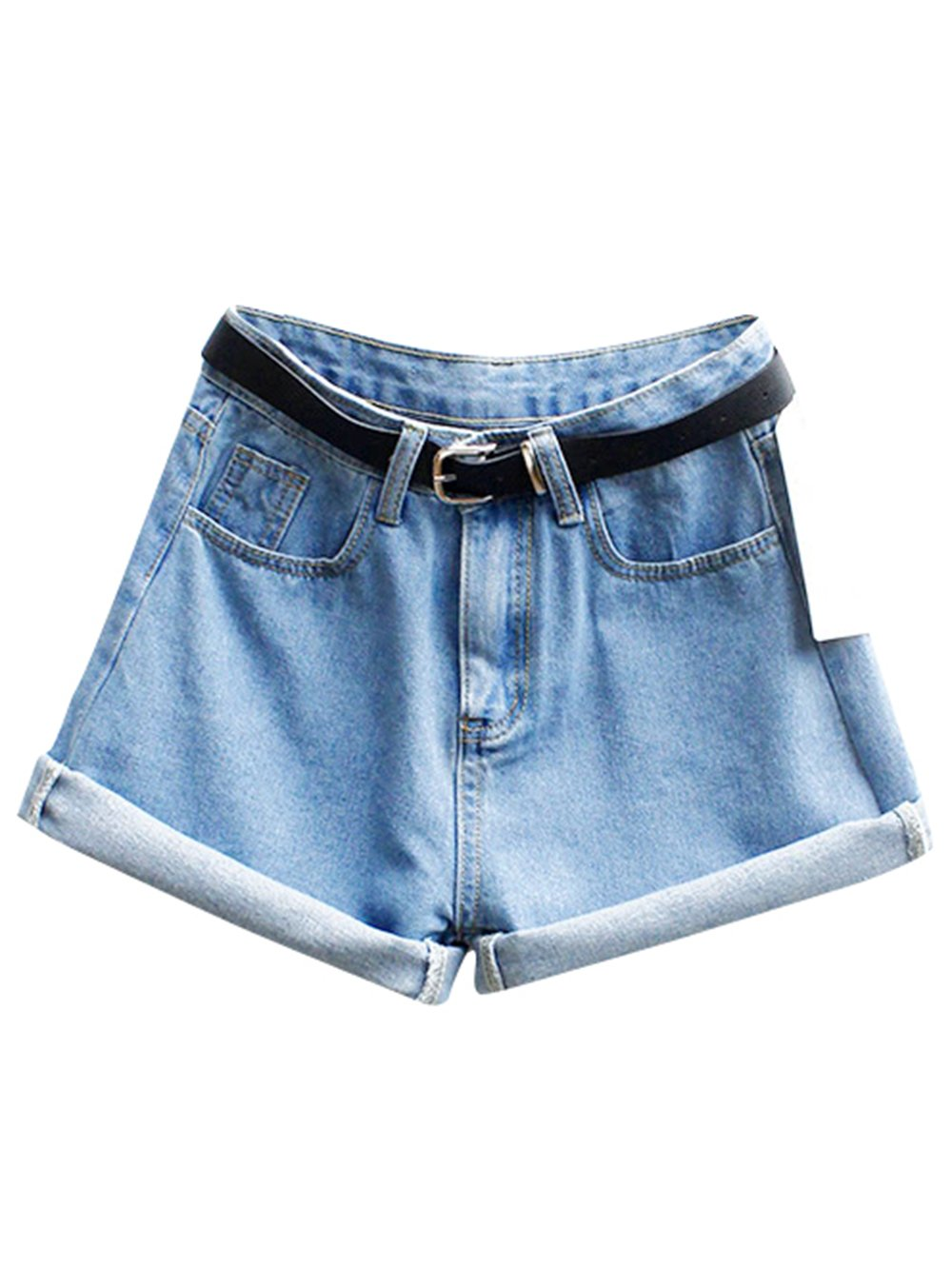 SweatyRocks Women's Retro High Waisted Rolled Denim Jean Shorts With Pockets Blue M