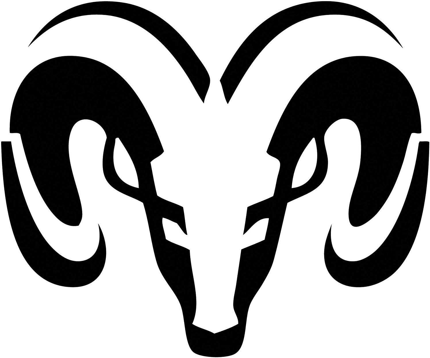 Ram head SILVER rear window decal