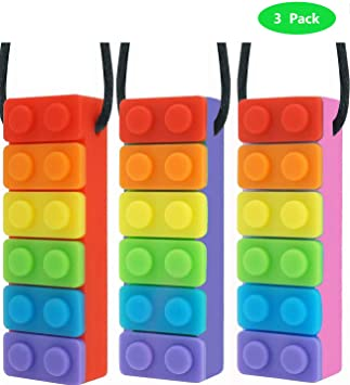Sensory Chew Necklace Brick Kids Chewy Silicone Biting Teether Toy for Autism