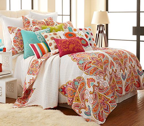 Tivoli Bone F/Q Cotton Quilt Set Red, Cream, Orange