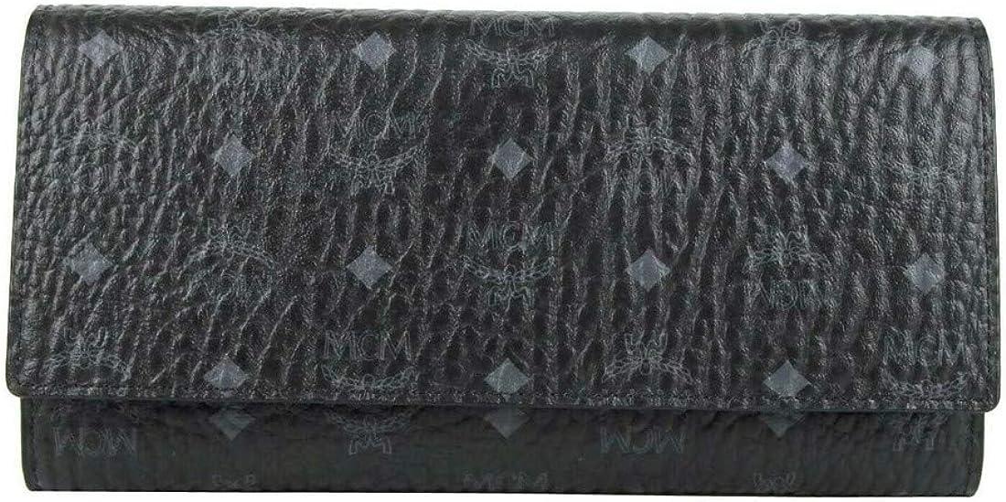 MCM Women's Black Visetos Coated Canvas Monogram Trifold Wallet MYL8SVI48BK001