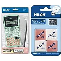 MILAN Blister calculadora científica 240 Funciones Silver Nuevo + BMM9215 Pack de 4 Gomas de borrar