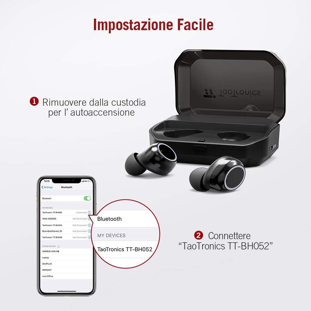 TaoTronics Auricolari True Wireless Bluetooth 5.0 Impermeabile IPX7  Microfono Integrato 3500mAh Custodia Riproduzione 24 Ore Compatibile con  iPhone Android ... 8d1d4154589e