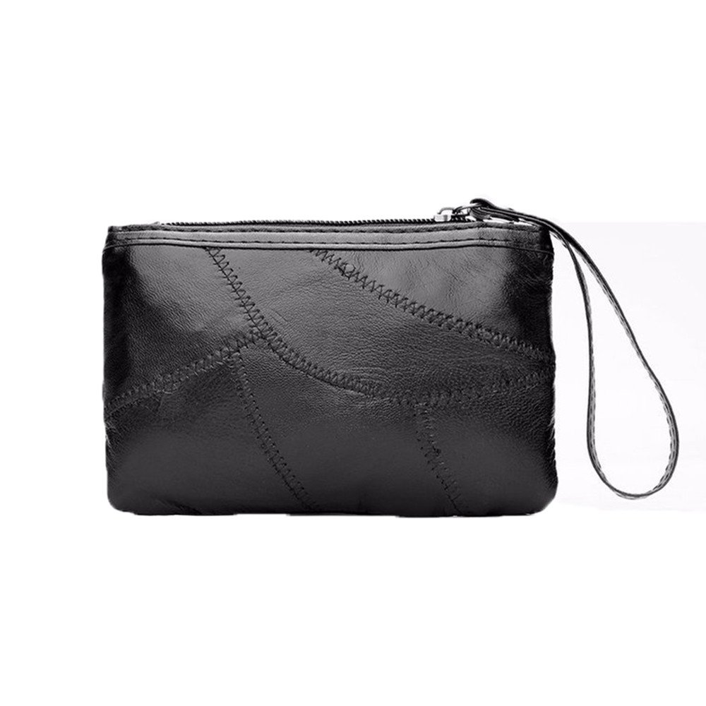 Wallet Ladies' Zero Wallet, Hand Held Bag, European Style Fan, Horizontal Style Black.