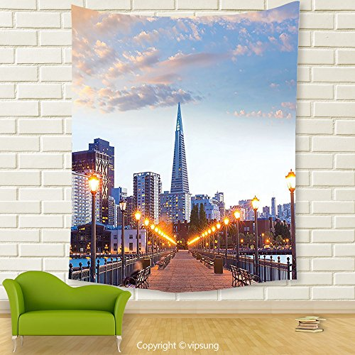 Vipsung House Decor Tapestry_Apartment Decor Collection San Francisco Pier 7 Sunset In California Usa Bridge Landmark Evening Photography Blue Gray_Wall Hanging For Bedroom Living Room (Halloween Dog Parade San Francisco)