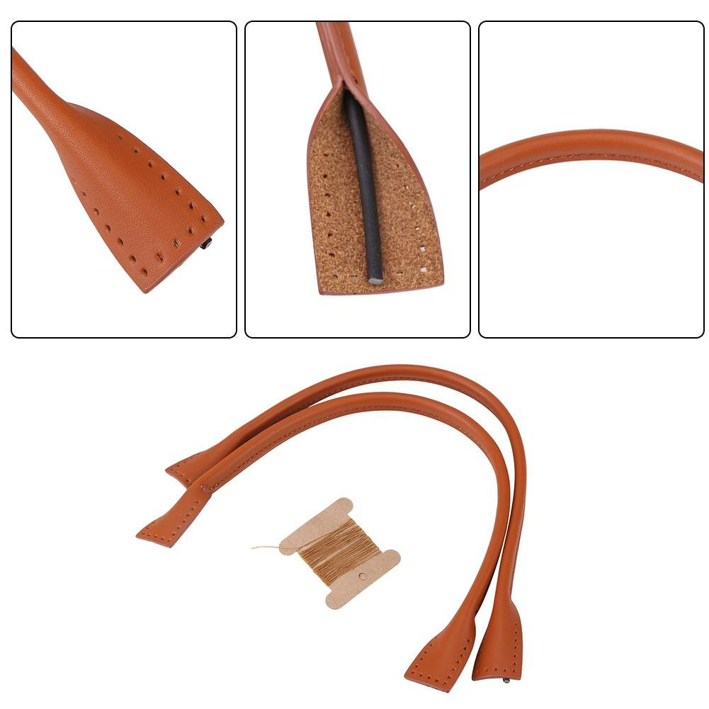 Genuine Leather Bag Handle Straps DIY Hand Accessories with Thread Black Brown 2 Pcs Black
