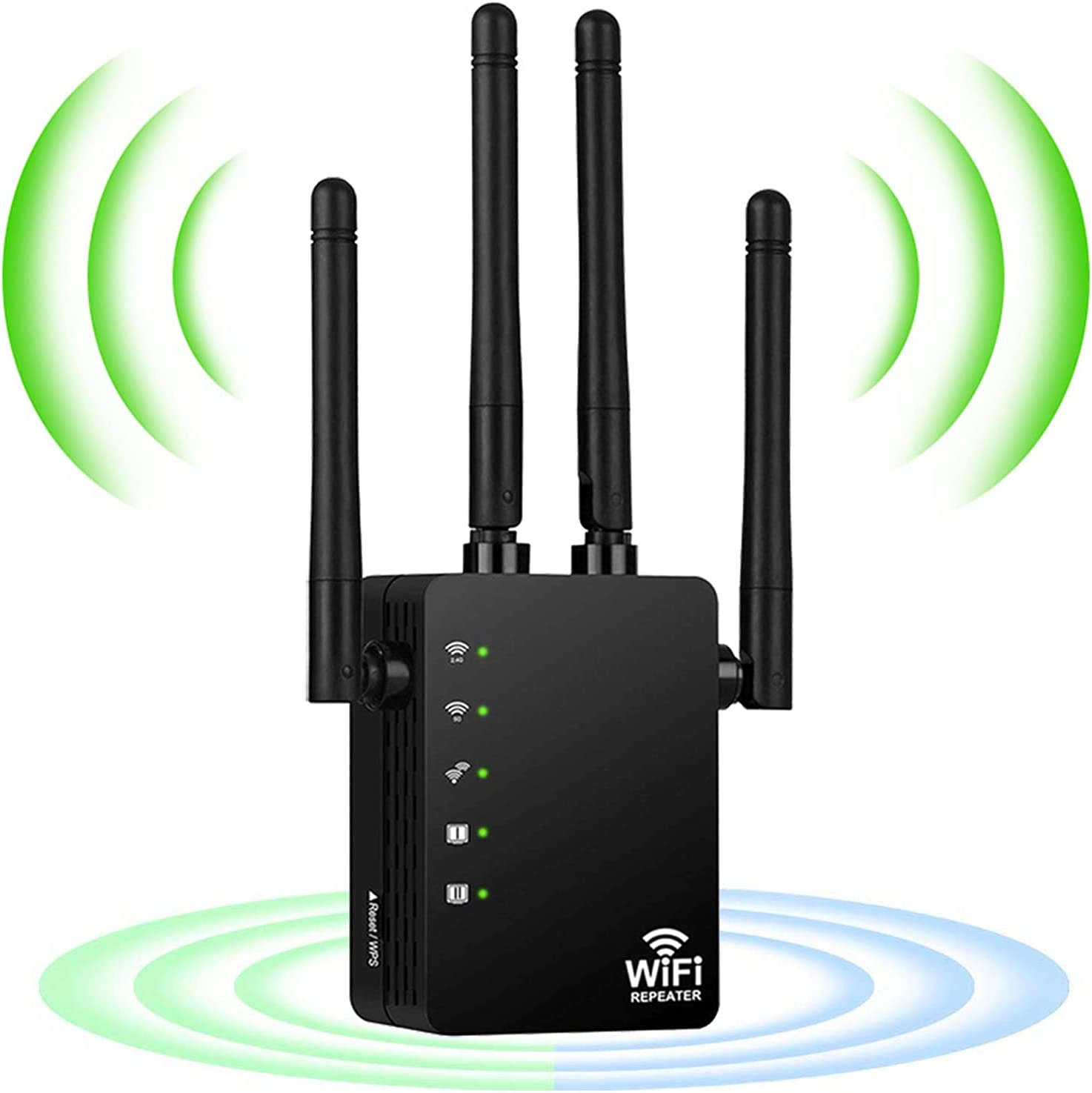 AC1200 WiFi Extender, WiFi Extenders Signal Booster for Home, 1200Mbps 2.4G & 5G Dual Band WiFi Booster, WiFi Repeater 4 Antennas Full Coverage WiFi Signal Booster to Smart Home & Alexa Devices