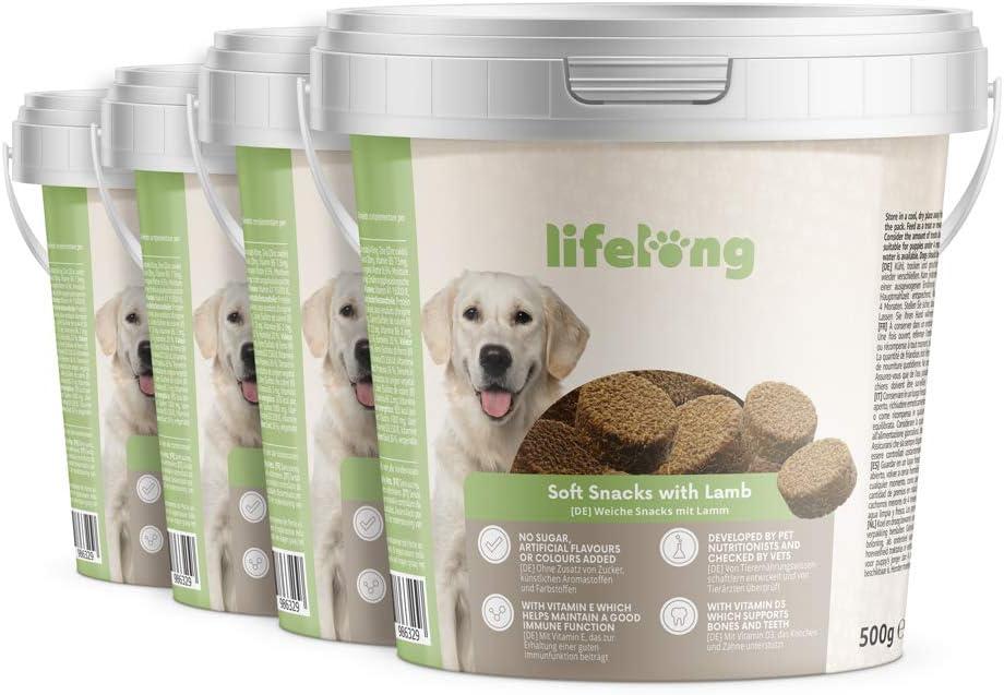 Marca Amazon - Lifelong - Treats para perros, ricos en proteínas, con cordero (4 botes x 500gr)