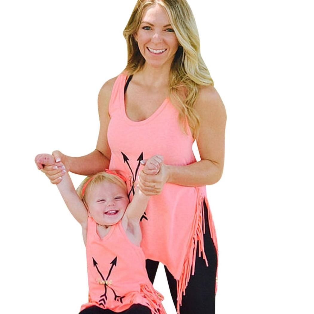 AutumnFall 2018 New Style Family Tops,Mommy &Me Women Children Baby Girls ''Love'' Letter Arrow T-shirt Tassel Tops Family Matching Clothes (Size:XXL, Pink -Women)