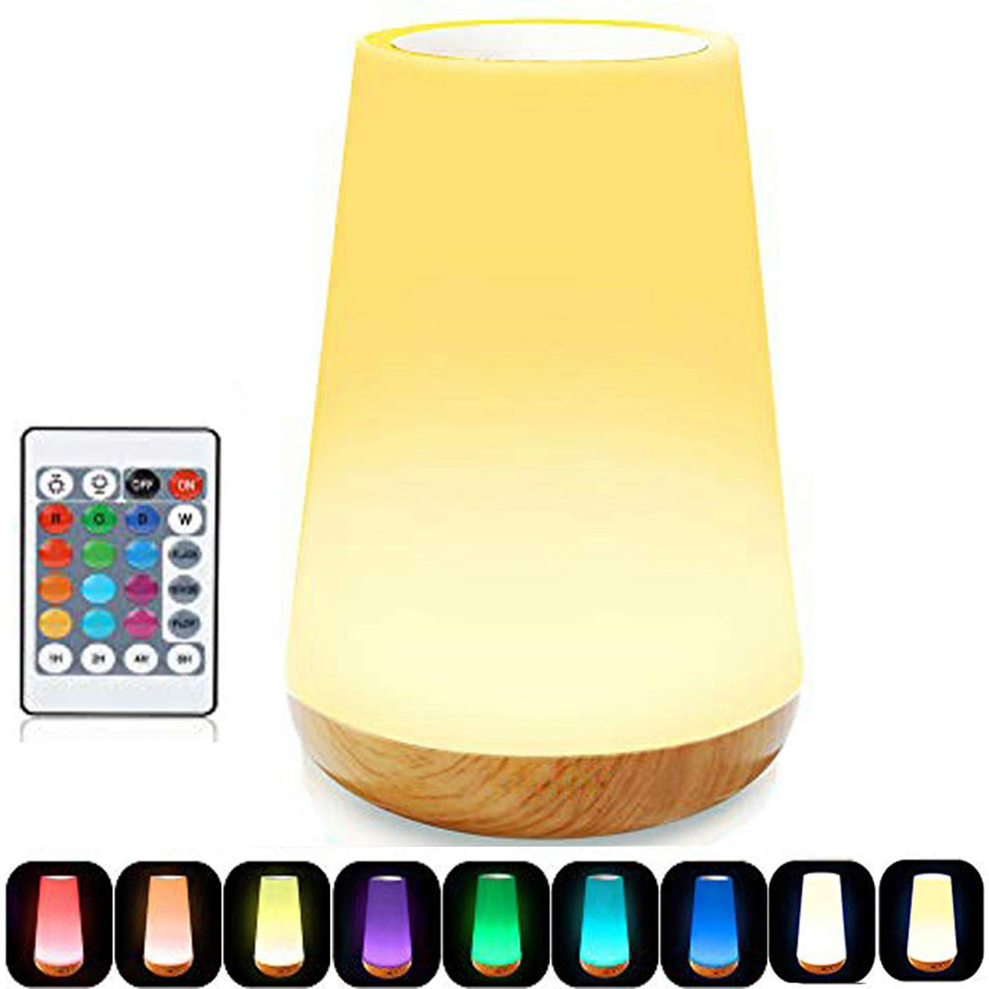 Caxmtu LED Night Light Touch Lamp Bedside Table Lamp for Kids Bedroom Rechargeable Dimmable with Remote Control and Timing Function Warm White Light + RGB Color Changing