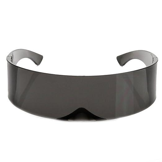 2f1949d281c zeroUV - 80s Futuristic Cyclops Cyberpunk Visor Sunglasses with Semi  Translucent Mirrored Lens (Black)