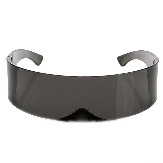 99e5c6622f Gafas de sol futuristas de zeroUV negro negro: Amazon.es: Ropa y accesorios