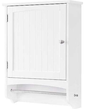Beau VASAGLE Wall Cabinet, Hanging Bathroom Storage Cabinet With Rod And  Adjustable Shelf, Medicine Cabinet