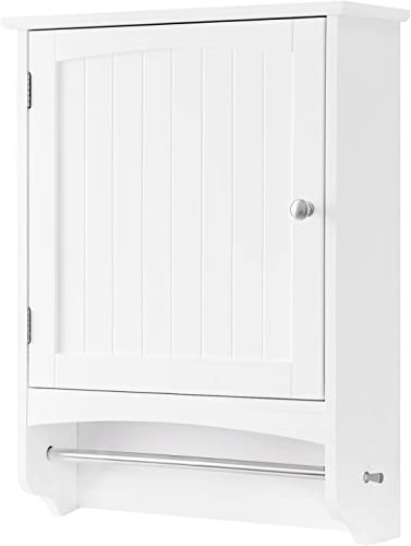 VASAGLE Wall Cabinet, Hanging Bathroom Storage Cabinet with Rod and Adjustable Shelf, Medicine Cabinet, Wooden, White 18.9 x 6.3 x 25.6 Inches UBBC22WT