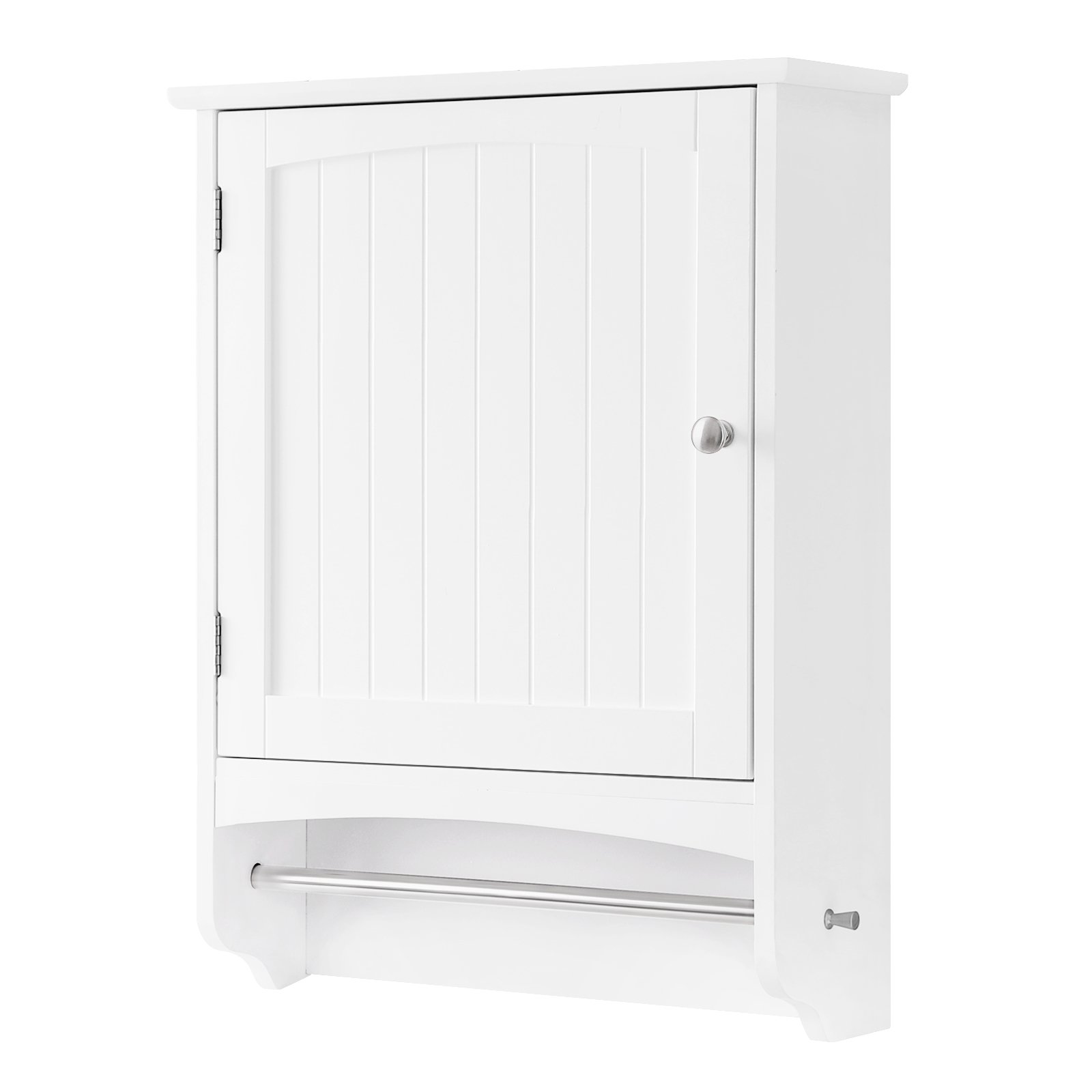 SONGMICS Wall Cabinet, Hanging Bathroom Storage Cabinet with Rod and Adjustable Shelf, Medicine Cabinet, Wooden, White 18.9''L x 6.3''W x 25.6''H, UBBC22WT