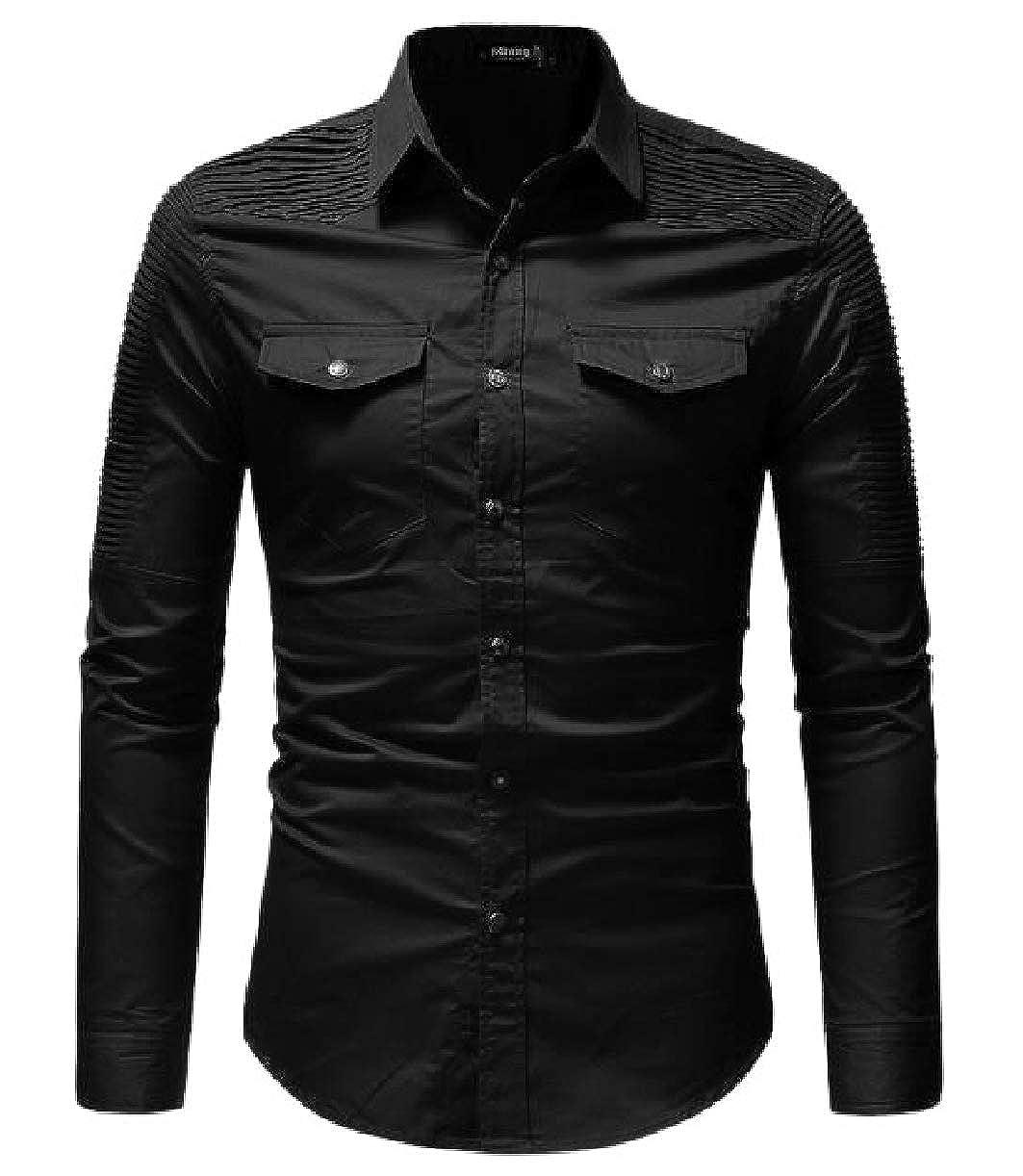 CBTLVSN Mens Casual Slim Fit Long Sleeve Work Shirt Dress Shirt Tactical Shirt