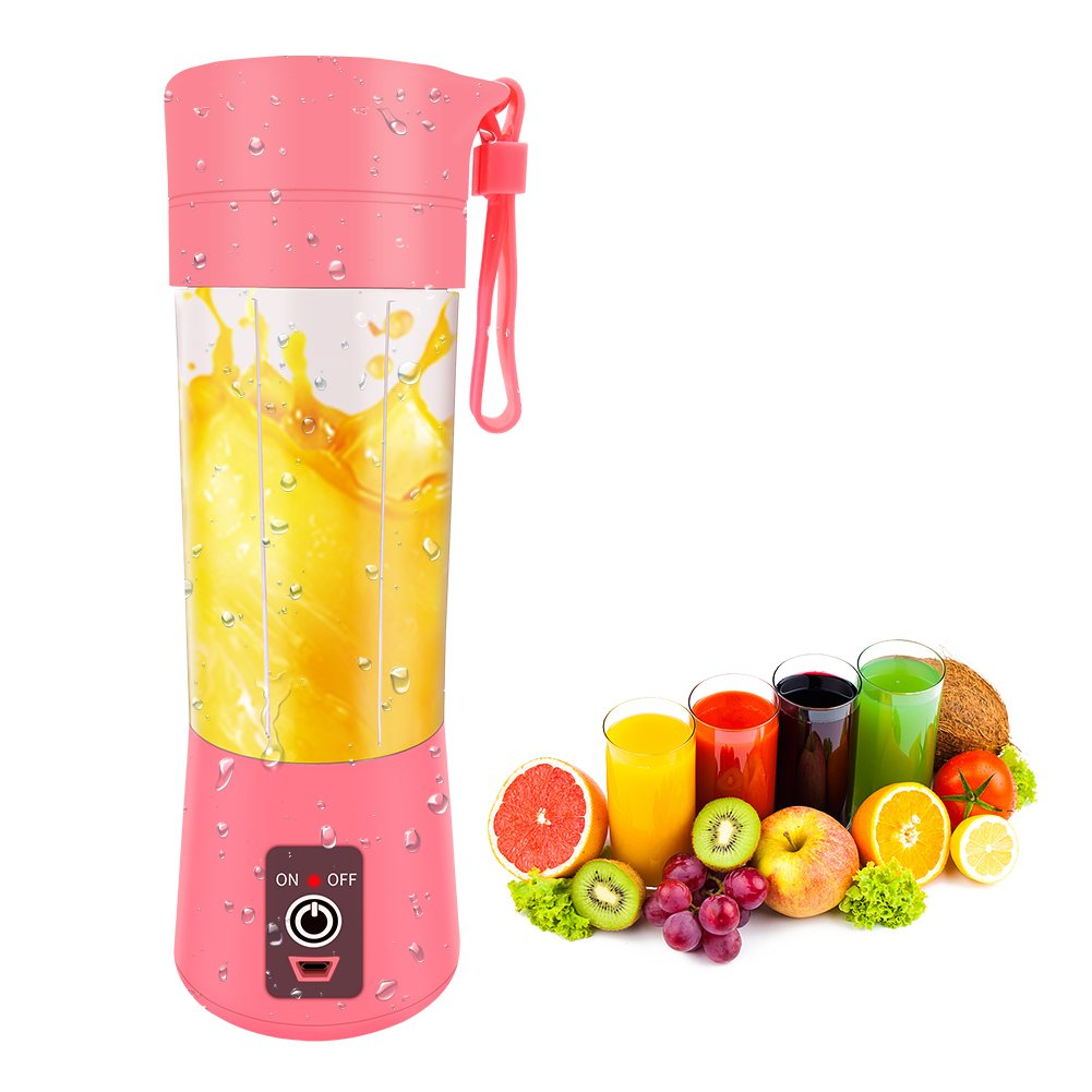 ECPURCHASE Portable Blender USB Rechargeable, Small Blender Single Serve, Personal Blender Shakes and Smoothies, Travel Blender Cup 380ml (FDA, BPA Free) (Pink)