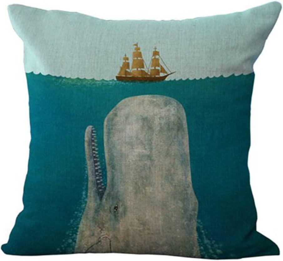 Big Whale Big Shark and Boat Pillow Case Cotton Blend Linen Cushion Cover Sofa Decorative Square 18 Inches Family Life (2)