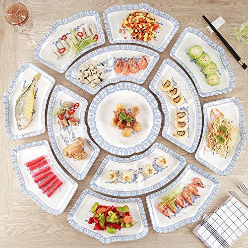 Unique Lotus-shaped Ceramic Tableware Combination, Fan-shaped Plate Porcelain Dinner Set, Saves Space, Suitable For Restaurants