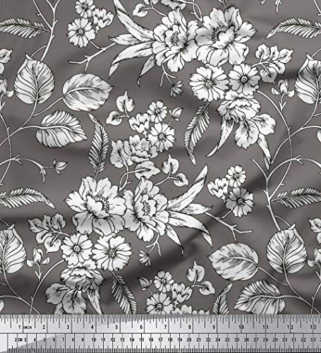 - Soimoi Indian Cotton Voile Fabric Floral Printed Sewing Material by The Yard 58 Inches Wide-Dark Gray