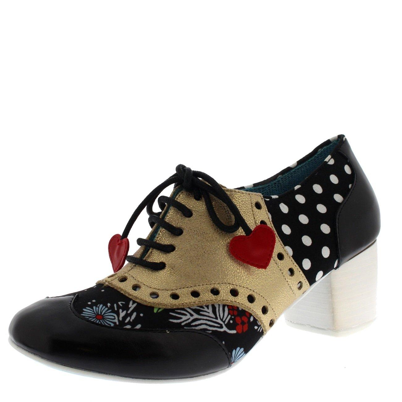 Irregular Choice Womens Clara Bow Oxfords Love Hearts Pretty Heels - Black/Gold - 9