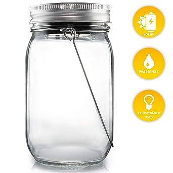 d3a7d55d6ccc Lacari ® Original Solarglas - Auch Als Gartenleuchte Hängeleuchte -  Wasserdichte Solarlampe - Hochwertige Solarleuchte Im Einmachglas -  Gemütliches ...