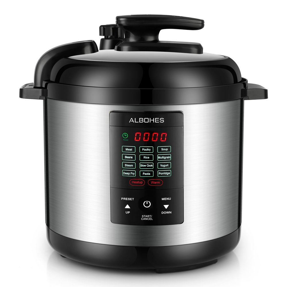 ALBOHES Electric Pressure Cooker, Programmable Pressure Cooker 5 Quarts 12-in-1 1000W With LCD Indecator and Touch Button Stainless Steel Pot ...
