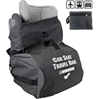 Car Seat Travel Bag for Airplane Gate Check, Fold into Portable Pouch, Grey