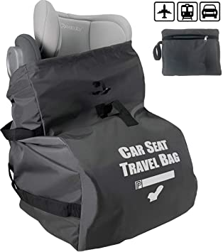 Karfast Universal Infant Carseat Gate Check Bag Cover for Airplane Foldable with Pouch Black Car Seat Travel Bag Backpack for Air Travel