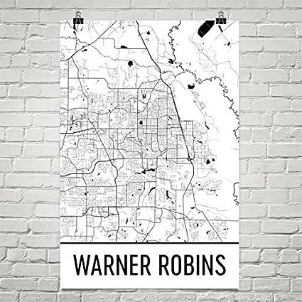 Warner Robbins Georgia Map.Amazon Com Warner Robbins Ga Map Warner Robbins Art Warner