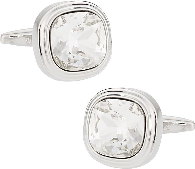 preocupación Plasticidad cristiano  Amazon.com: Cuff-Daddy Swarovski Crystal Clear Cufflinks with Presentation  Box: Swarovski Men: Jewelry